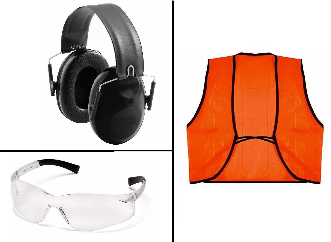 Ultimate Arms Gear Tactical Low Profile Black Ear Muff Earmuff Protection Fold-Away Padded Head Band NRR 22db + Shooting Clear Frame Lens Safety Glassess Eye Eyewear Protective + Outdoor Hunter Neon Orange High Visible Visibility Vest, Hunting Hiking Camp