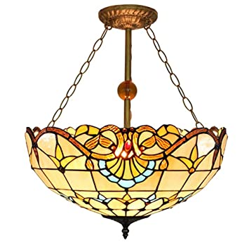 Tiffany Style Pendant Light Vintage Stained Glass Hanging