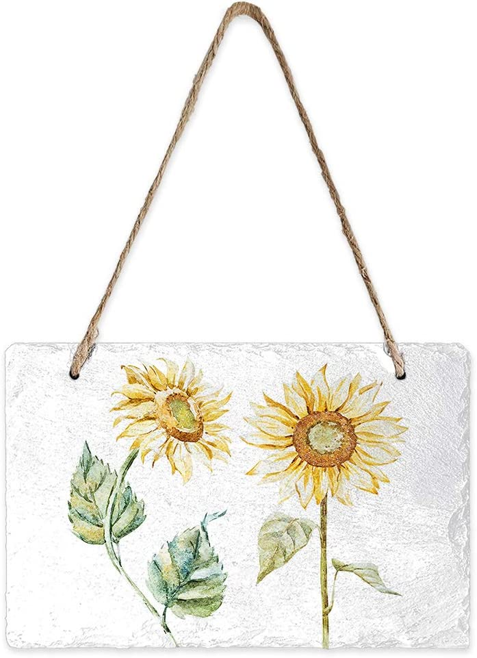 Watercolor Floral Slate Sign, Delicate Plaque Signs, Stone Chalkboards with Jute Rope for Indoor Outdoor Decorative Accessory 5x8inch, Retro Sunflower Illustration