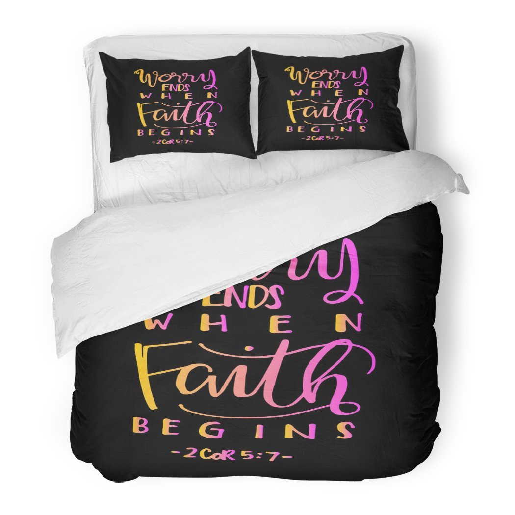 SanChic Duvet Cover Set Worry Ends When Faith Begins Bible Verse Hand Lettered Quote Modern Calligraphy Christian Decorative Bedding Set with 2 Pillow Shams Full/Queen Size