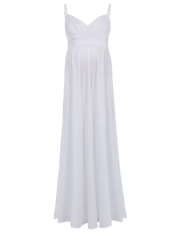 Kate Kasin Vestido Largo Premamá de Mujeres Embarazadas Cuello V Vestido Maxi de Tirantes: Amazon.es: Ropa y accesorios