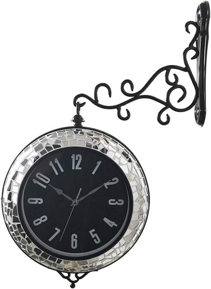CLOCK Doble Cara Cubierta Decoración de la Pared Lateral Del Bastidor Ángulos de Hierro Forjado Lentejuelas Creativo Moderno de Relojes de Cuarzo