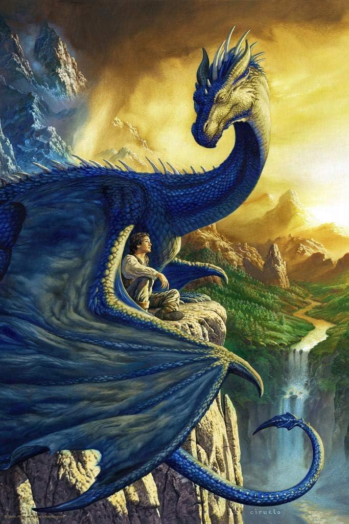 Eragon Dragon with Boy by Ciruelo Artist Painting Fantasy Cool Wall Decor Art Print Poster 24x36