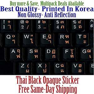 Thai English Non Transparent Black Background Keyboard Computer Stickers