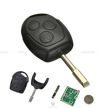 Llave Carcasa concha hoja mando a distancia 3 teclas para coche FORD FIESTA FOCUS MONDEO KA Transit con + 4D60 Chip 433 MHz y batería CR2032)