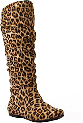 Qupid Women's Mid Calf Velvet Knee High Slouch Flat Cowboy Riding Boots Fashion Shoes CAMEL LEOPARD (10)