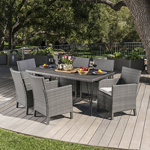 Darmel | 7 Piece Outdoor Wicker Rectangular Dining Set with Cushions | in Grey/Dark Grey