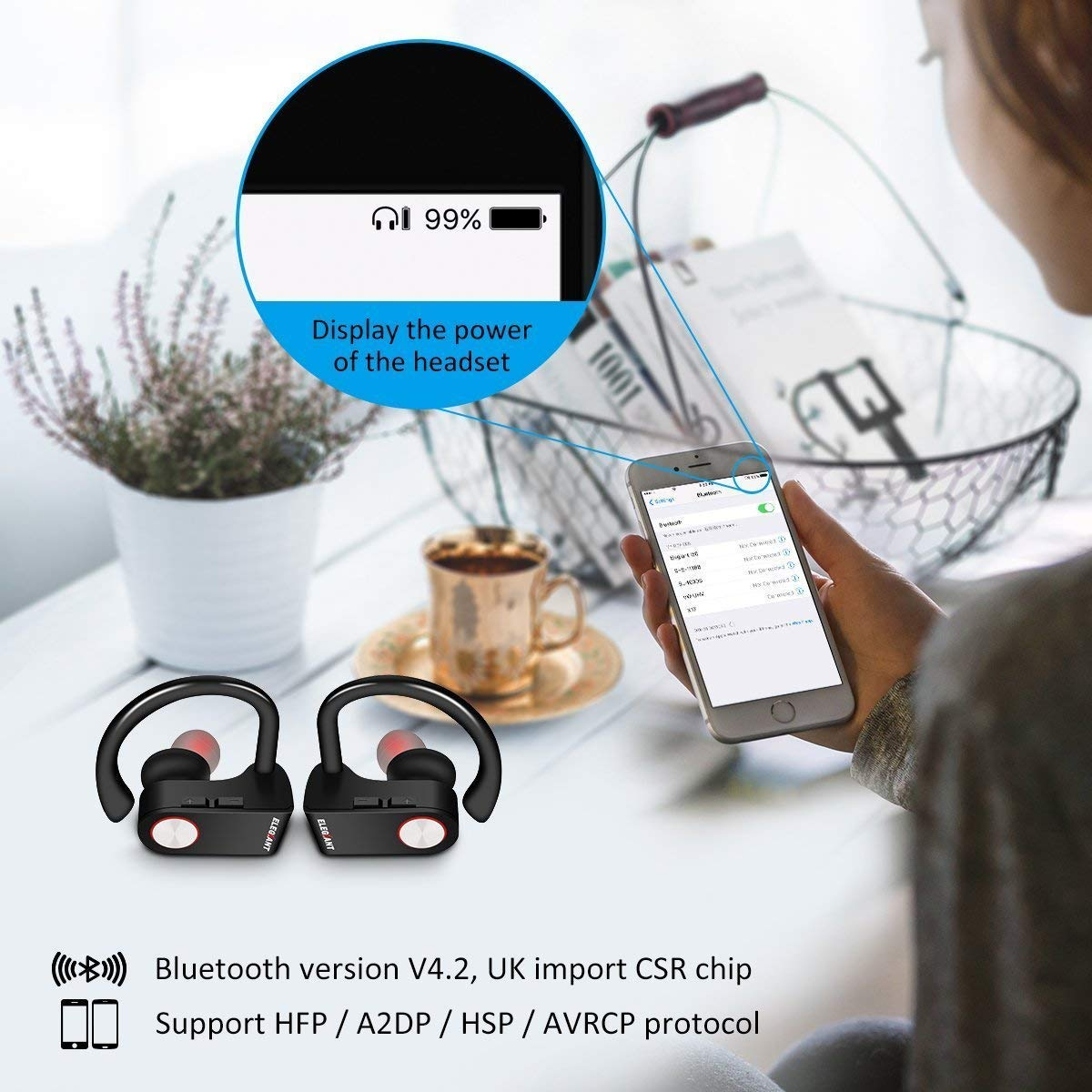 True Wireless Earbuds, ELEGIANT Sport TWS Bluetooth Wireless Headphones with Mic Noise Cancelling in Ear Bluetooth Earphones Stereo Headset Secure Fit for Running Driving Gym Magnetic Charger