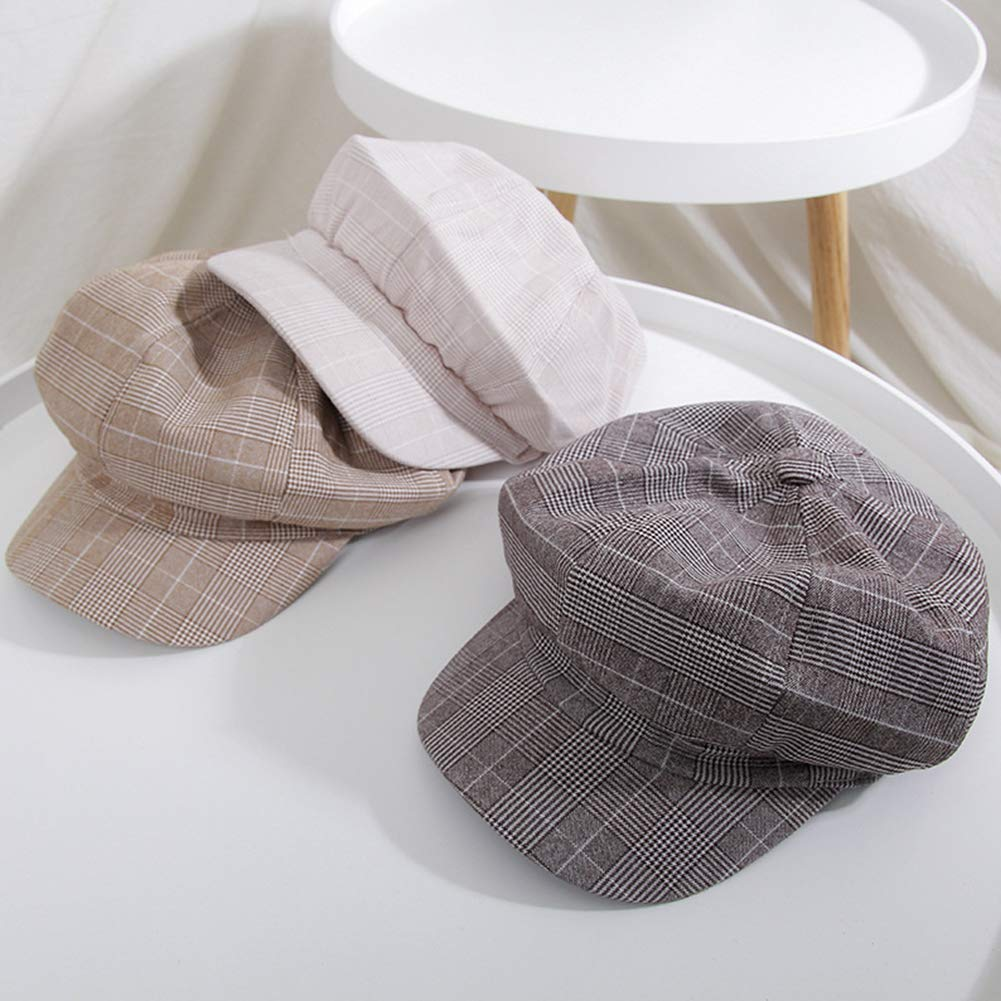 Aikesi Cotone Tessuto in Lino Cappello Piatto Baschi Scozzesi Coppola Cappello Piatto Berretto da Unisex