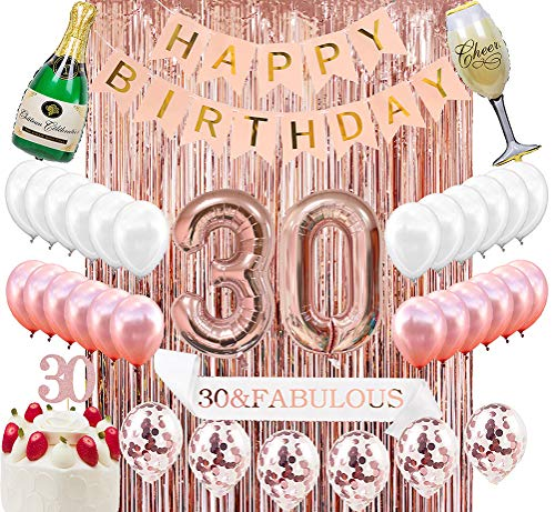 Decorations For 30th Birthday Party (Sllyfo 30th Birthday Decorations Party Supplies Kit - 30th Birthday Gifts for Womens,30th Cake Topper|Banner|sash|Rose Gold Curtain Backdrop Props|Confetti Balloons|Champagne Balloon.)