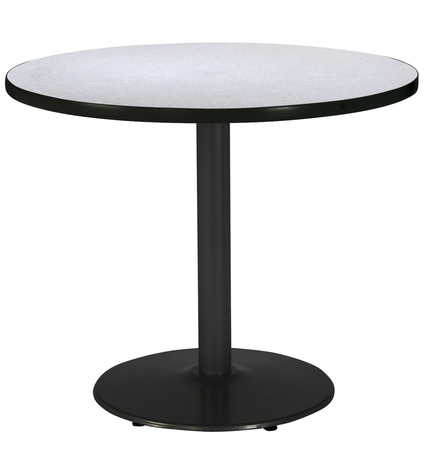 KFI Seating Round Black Base Pedestal Table with Top, Grey Nebula, 36''