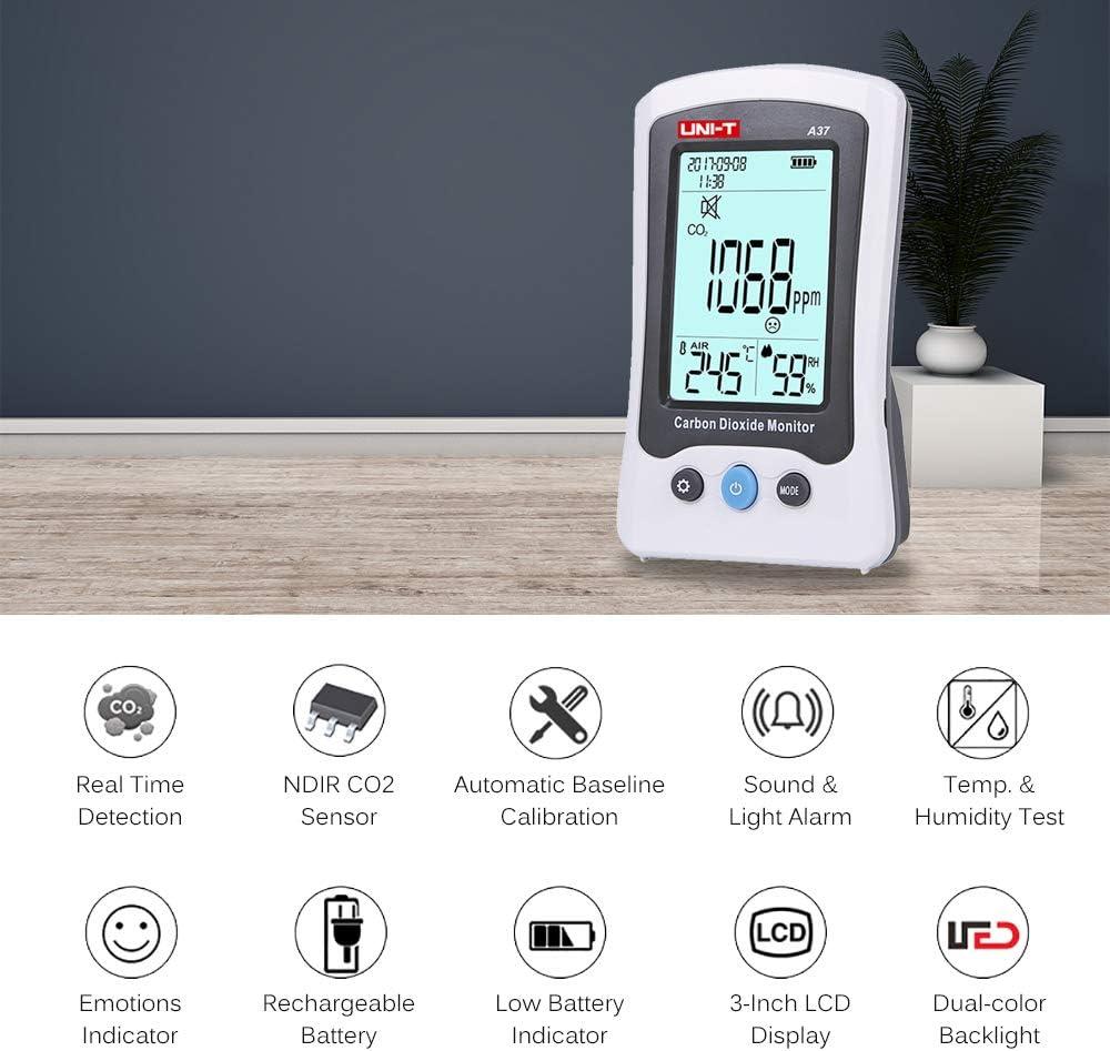 CO2 Messger/ät UNI-T 400〜5000ppm Kohlendioxid Detektor CO2 Detektor f/ür Luftqualit/ätsmonitor mit 1500mAh Akku