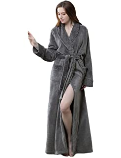 Women Winter Long Bathrobe Soft Warm Ladies Luxury Fleece Dressing Gown  White Grey Wine… 3636b17f3