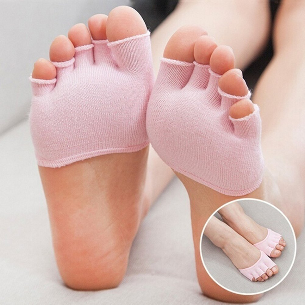 KINJOHI Women Invisible Yoga Gym Non Slip Slip Toe Half Grip Heel Five Finger Socks