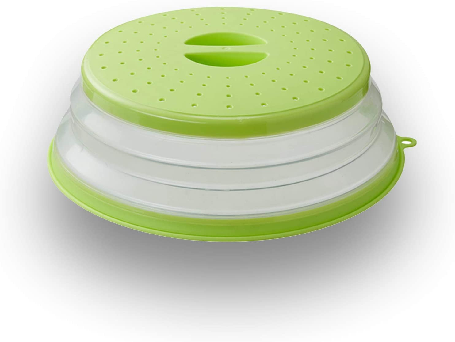 WENWELL Vented Collapsible Microwave Splatter Cover for Food,Kitchen dish bowl Plate lid Can be Hung,Dishwasher-Safe,Fruit Drainer Basket,BPA-Free Silicone & Plastic,Green