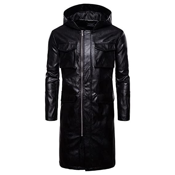 99a8f2991a1c3 JJZXX Men s PU Leather Autumn Winter The New No Collar Hooded Big Pocket  Decoration Long Section Foreign Trade Windproof Clothing Europe Male  Locomotive ...