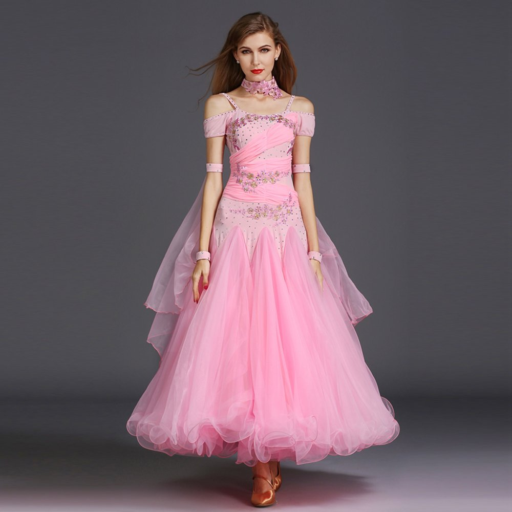 女性の手刺繍モダンダンスドレスビッグ振り子スカート GB ダンスドレスダンスコンペティションパフォーマンスドレスラインストーンダンスコスチュームタンゴワルツスカート B07HHVZPHF Large|Pink Pink Large