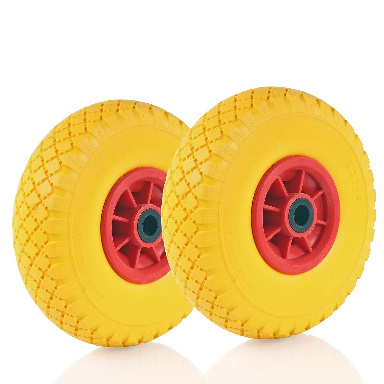 2 Ersatzrad mit 10 Zoll Kunststofffelge Polyurethan-Reifen Schubkarrenrad vollgummi Gesamth/öhe 250mm