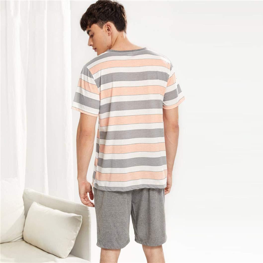 MMjyP Men Letter Patched Striped Pajama Set 2019 Round Neck Short Sleeve Summer