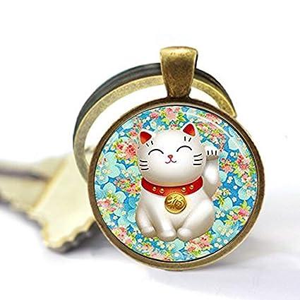 Llavero con diseño de gato de la suerte, color rosa y azul ...