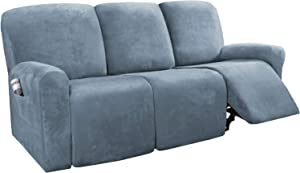 H.VERSAILTEX 8-Pieces Recliner Sofa Covers Velvet Stretch Reclining Couch Covers for 3 Cushion Sofa Slipcovers Furniture Covers Form Fit Customized Style Thick Soft Washable(Large, Stone Blue)