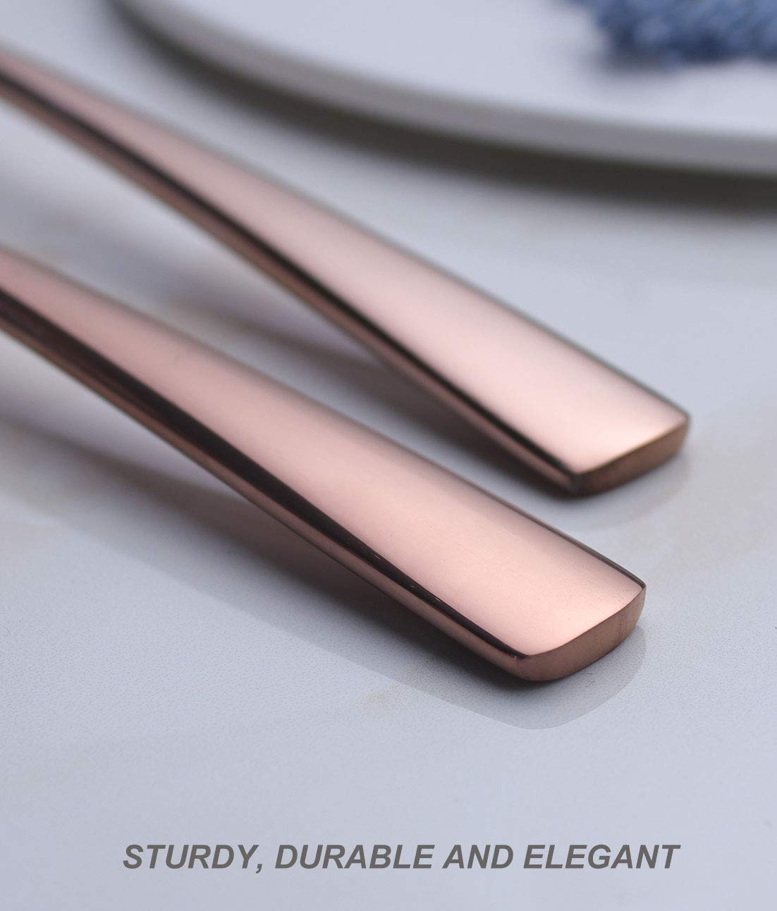 Dinner Dessert Spoon Set Rose Gold 6 Piece 18//8 Stainless Steel 7.6 inch Oval Bowl Bouillon Soup Spoons Service for 6 Silverware Flatware Utensils Dinner Dishwasher Safe Mirror Polished by OMGard