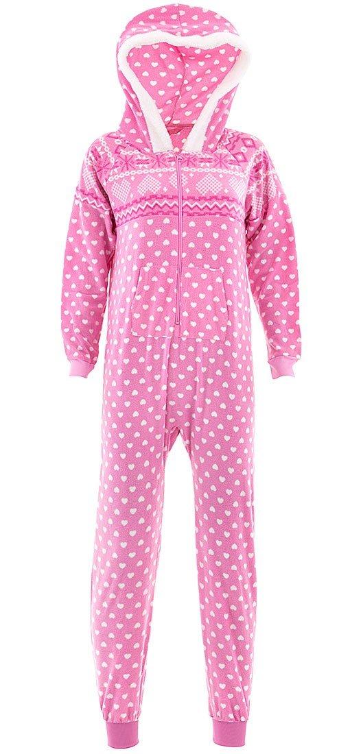 Katnap Kids Big Girls' Pink Nordic Hooded One-Piece Pajamas 10-12