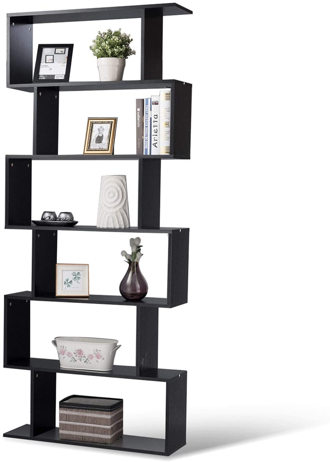 Bookcase Bookshelf S Shape Book Case Storage Shelf Display Unit 4 Tier Shelves