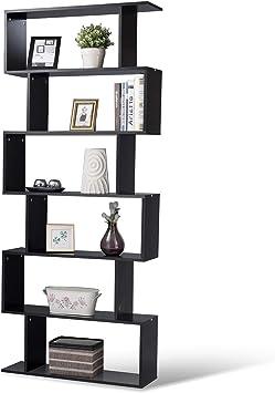 Large Modern Bookcase Wood Bookshelf Display Shelving Geometric Office Room Home