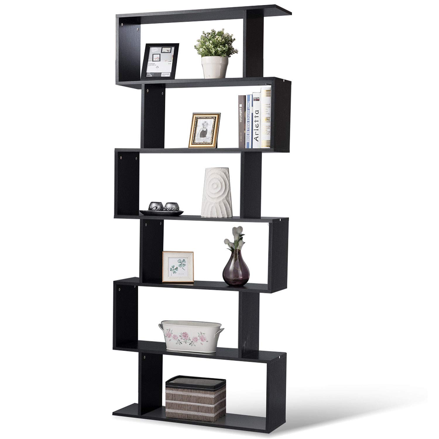 Tangkula 6 Shelf Bookcase, Modern S-Shaped Z-Shelf Style Bookshelf, Multifunctional Wooden Storage Display Stand Shelf for Living Room, Home Office, Bedroom, Bookcase Storage Shelf Black