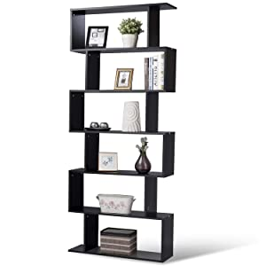 Tangkula 6 Shelf Bookcase, Modern S-Shaped Z-Shelf Style Bookshelf, Multifunctional Wooden Storage Display Stand Shelf for Living Room, Home Office, Bedroom, Bookcase Storage Shelf (Black)