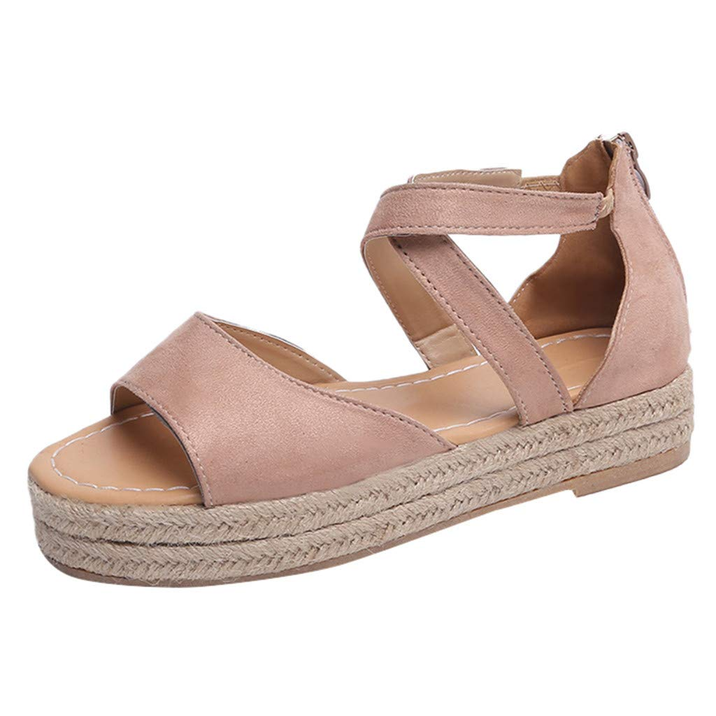 Qingell Women's Platform Sandals Espadrille Wedge Ankle Strap Studded Open Toe Sandals Pink