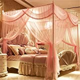 Royal- European Style Square Top Mosquito Net Three-door Encryption Thickening Double Bed Princess Style Stainless Steel Bracket Pink ( Color : 1.5m (5 Feet) Bed , Size : Diameter 25mm )