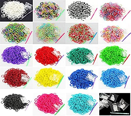 5-Hooks Black Salome Idea Rubber Bands 3000pcs Rubber Loom Bands Barcelet Making Kit,25pcs S-Clips