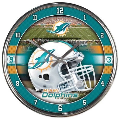 (NFL Miami Dolphins Chrome Clock)