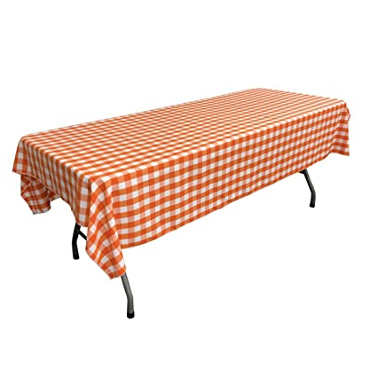 Attrayant LA Linen Gingham Checkered 60 X 108 Tablecloth, White And Orange, 60u0026quot; X