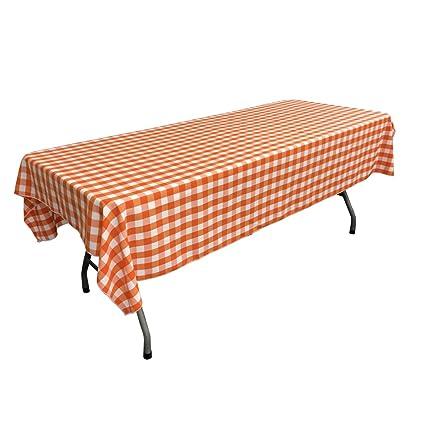Charmant LA Linen Gingham Checkered 60 X 108 Tablecloth, White And Orange, 60u0026quot; X