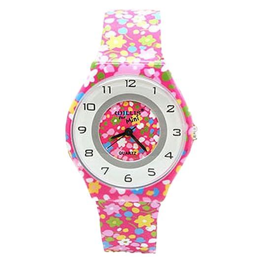 Willis - Reloj Infantil de Niñas Chicas Analógico Cuarzo Educativo para Aprender Horas con Correa Resina de Silicona - Color 2: Amazon.es: Relojes