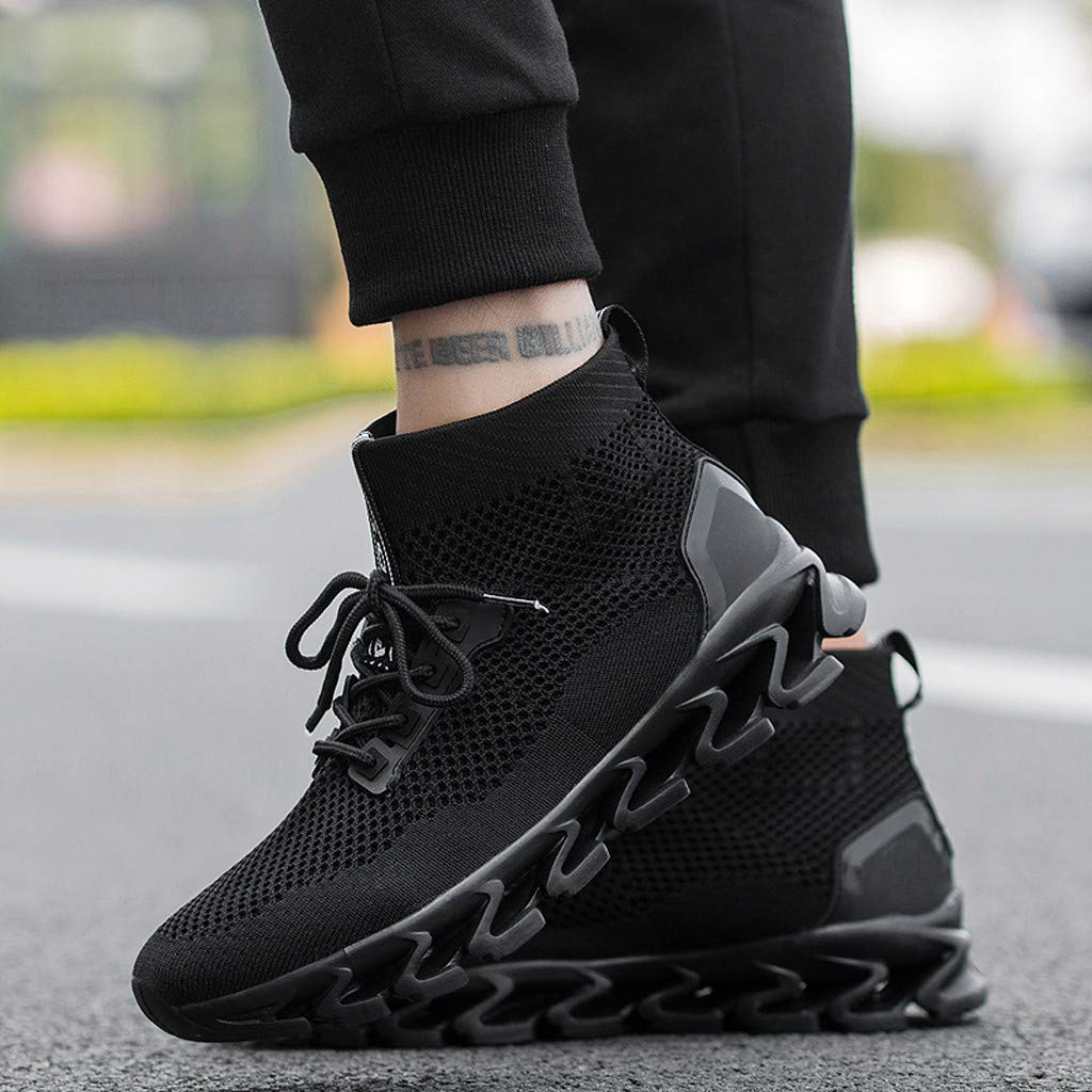 Mysky Fashion Couple Popular Solid Color Breathable Mesh Lace Up Outdoor Short Boots Wild Woven Sneakers Black