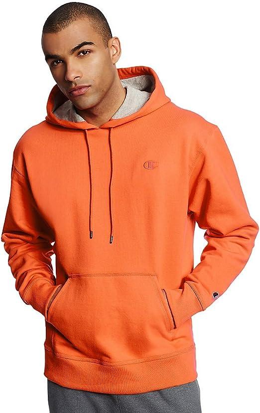Champion Men's Powerblend Fleece Pullover Hoodie, Orange, M