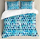 Navy and Teal Duvet Cover Set King Size by Ambesonne, Abstract Blue Watercolor Drops Aquarelle Art Rain Teardrop Quirky, Decorative 3 Piece Bedding Set with 2 Pillow Shams, Turquoise Navy Blue