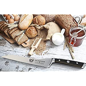 """DALSTRONG Serrated Offset Bread & Deli Knife - Gladiator Series- 8""""- German HC Steel - Guard Included"""