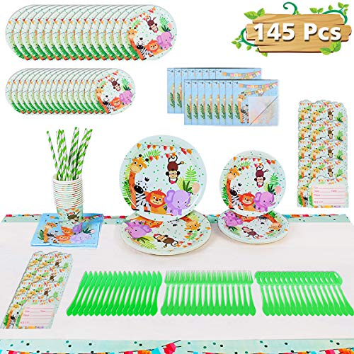 Jungle Baby Shower Party Supplies (Jungle Safari Theme Party Supplies for 16 Guests, Birthday Baby Shower Decoration for Boy or Girl Zoo Animal Set Including Plates,Napkins,Cups,Knifes,Forks,Spoons,Invitation Cards,Table Cover 145)
