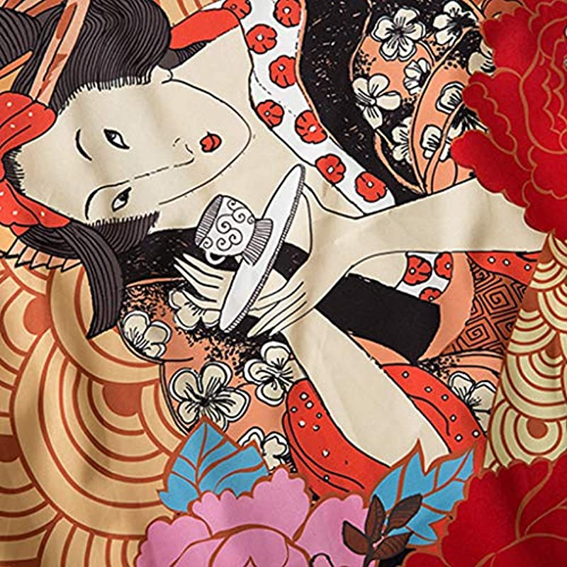 Yukata męska kardigan, luźny krÓj, z przodu, rękawy 3/4 w stylu japońskim, z nadrukiem w stylu japońskim, kimono, bluza Yukata Coat Baggy Tops: Schmuck