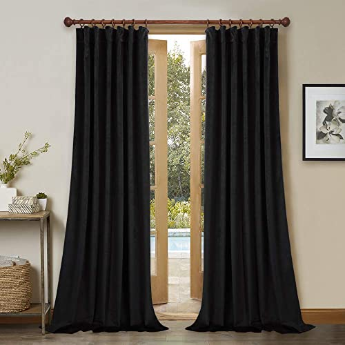 StangH Black Velvet Curtains Set of 2 Blackout Panels 120-inches Extra Long Thick Thermal Insulated Drapes Total Privacy Protect Panels for Film Room Basement, 52W x 120L, 2 Pcs