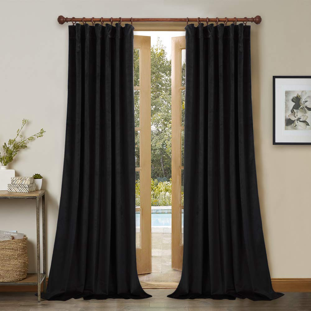 Black W52 x L108  Bedroom Blackout Velvet Curtain Panels - 96 Inch Thick Soft Velvet Drapes with Rod Pocket & Back Tab Window Covering for Front Sliding Door, Peacock bluee, W52 x L96 Per Panel, 2 Pcs