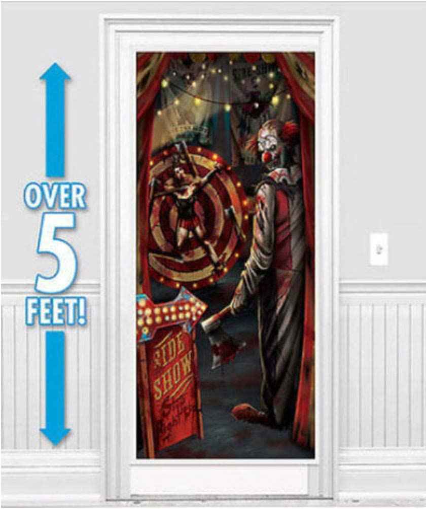 HALLOWEEN party Scene Setter creepy EVIL carnival CLOWN wall door poster decor- Sold by Soigne and Swank!