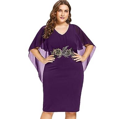 e264e69760bc 2018 Elegante Abito Ricamato Plus Size Estate Vestiti Chiffon da Donna Gonna  a Scialle Moda Vintage Abiti da Sera Scollo a V Cerimonia Nero Viola Rosso   ...