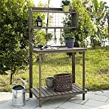 Garden Potting Bench,Outdoor ,With Hanging Grate, Dark Brown Stain