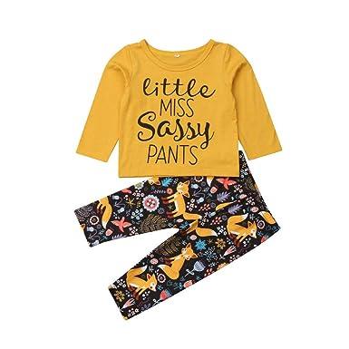 b318e530 Amazon.com: 2Pcs/Set Baby Girls Letter Floral Clothes Outfits T ...